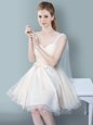 Cheap Champagne One Shoulder Zipper Ruching and Bowknot Bridesmaid Dress Sleeveless