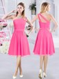 Romantic A-line Quinceanera Court of Honor Dress Hot Pink One Shoulder Chiffon Sleeveless Knee Length Zipper