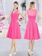 Eye-catching Hot Pink A-line Chiffon V-neck Sleeveless Lace and Ruching Knee Length Side Zipper Bridesmaid Gown