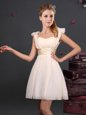 Fancy Straps Sleeveless Chiffon Vestidos de Damas Ruching and Bowknot Zipper