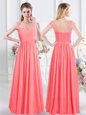 Watermelon Red Chiffon Zipper Scoop Cap Sleeves Floor Length Damas Dress Lace and Ruching