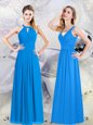 Empire Bridesmaids Dress Baby Blue Halter Top Chiffon Sleeveless Floor Length Zipper