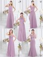 Lavender Cap Sleeves Beading and Ruching Floor Length Bridesmaid Dress