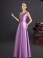 One Shoulder Sleeveless Quinceanera Court of Honor Dress Floor Length Bowknot Lilac Elastic Woven Satin
