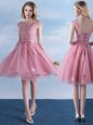 Trendy Scoop Cap Sleeves Bridesmaids Dress Knee Length Appliques and Belt Pink Tulle