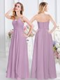 Lavender Sleeveless Chiffon Zipper Bridesmaid Dress for Prom and Party and Wedding Party