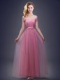 Off the Shoulder Pink Lace Up Wedding Party Dress Ruching and Bowknot Sleeveless Floor Length