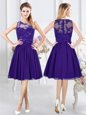 Discount Scoop Knee Length Empire Sleeveless Purple Quinceanera Court of Honor Dress Zipper