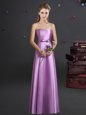 Excellent Lilac Empire Sweetheart Sleeveless Elastic Woven Satin Floor Length Zipper Bowknot Bridesmaid Gown