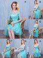 Modest Scoop Lace and Appliques and Bowknot Bridesmaids Dress Aqua Blue Lace Up Sleeveless Knee Length