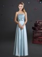 Top Selling Floor Length Light Blue Bridesmaid Gown Elastic Woven Satin Sleeveless Bowknot