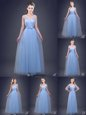 Spectacular Light Blue Tulle Lace Up Sleeveless Floor Length Vestidos de Damas Beading and Appliques and Ruching and Bowknot and Hand Made Flower