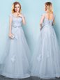 Scoop Cap Sleeves Tulle Floor Length Lace Up Bridesmaids Dress in Light Blue for with Appliques and Belt