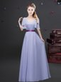 Popular Square Lavender Zipper Dama Dress Ruching and Belt Short Sleeves Floor Length