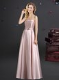 Admirable Pink Sleeveless Elastic Woven Satin Zipper Wedding Guest Dresses for Prom and Party and Wedding Party