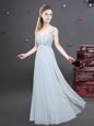 Best Selling One Shoulder Floor Length Empire Sleeveless Grey Bridesmaid Dresses Zipper