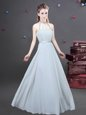 Halter Top Sleeveless Zipper Floor Length Ruching Bridesmaid Gown