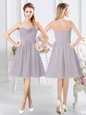 Simple Grey Chiffon Zipper Bridesmaid Dress Sleeveless Knee Length Ruching and Hand Made Flower