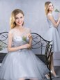 Scoop Knee Length Grey Wedding Guest Dresses Tulle Sleeveless Lace and Appliques and Belt