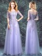 Fashion Square Half Sleeves Appliques Lace Up Quinceanera Court of Honor Dress