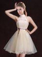 Halter Top Mini Length Champagne Wedding Guest Dresses Organza Sleeveless Lace and Belt