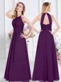 Graceful Halter Top Purple Empire Ruching Bridesmaids Dress Zipper Chiffon Sleeveless Floor Length