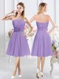 Lavender A-line Strapless Sleeveless Chiffon Knee Length Zipper Ruching and Hand Made Flower Bridesmaid Dresses