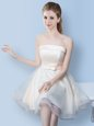 Elegant Sleeveless Knee Length Bowknot Lace Up Court Dresses for Sweet 16 with White
