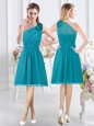 Exquisite Teal Damas Dress Prom and Party and Wedding Party and For with Ruffles and Ruching One Shoulder Sleeveless Side Zipper