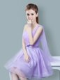 High End One Shoulder Sleeveless Tulle Knee Length Zipper Bridesmaid Gown in Lavender for with Ruching and Bowknot
