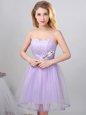 Lavender A-line Tulle Sweetheart Sleeveless Beading Knee Length Lace Up Bridesmaid Dress