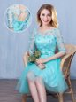 Scoop Knee Length Aqua Blue Dama Dress for Quinceanera Tulle Half Sleeves Lace and Appliques and Bowknot