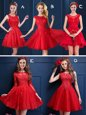 Unique Scoop Red Lace Up Vestidos de Damas Lace and Appliques Sleeveless Mini Length