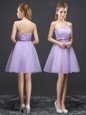 Best Selling Lavender A-line Lace and Belt Quinceanera Court of Honor Dress Lace Up Organza Sleeveless Mini Length