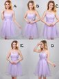 Best Selling Off the Shoulder Lace and Appliques and Belt Bridesmaids Dress Lavender Lace Up Sleeveless Mini Length