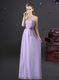 Best Lavender Lace Up Sweetheart Lace and Appliques and Belt Quinceanera Court Dresses Chiffon Sleeveless