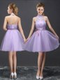 Inexpensive Halter Top Organza Sleeveless Mini Length Bridesmaid Gown and Lace and Belt
