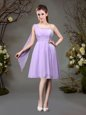 Sumptuous One Shoulder Lavender Empire Beading and Ruching Quinceanera Court of Honor Dress Zipper Chiffon Sleeveless Mini Length