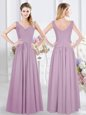 Perfect Sleeveless Zipper Bridesmaid Dress Lavender Chiffon