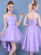 High Low Lace Up Wedding Party Dress Lavender and In for Prom and Party with Lace and Bowknot