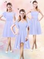 Amazing Lavender Quinceanera Court Dresses Prom and Party and Wedding Party and For with Ruching Scoop Short Sleeves Side Zipper