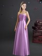 Free and Easy Floor Length Empire Sleeveless Lilac Dama Dress Zipper