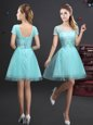 Aqua Blue Lace Up Bridesmaid Dress Lace and Appliques and Belt Short Sleeves Mini Length