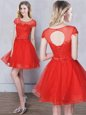 A-line Wedding Guest Dresses Red Scoop Tulle Short Sleeves Mini Length Lace Up