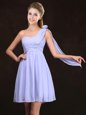 One Shoulder Ruching and Hand Made Flower Quinceanera Court Dresses Lavender Zipper Sleeveless Mini Length