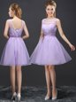 Lavender A-line Scoop Sleeveless Organza Mini Length Lace Up Lace Wedding Party Dress