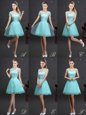 Aqua Blue Tulle Lace Up High-neck Sleeveless Mini Length Wedding Guest Dresses Beading and Lace and Appliques and Belt