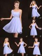 Elegant Sequins Sleeveless Zipper Wedding Party Dress Lavender Chiffon