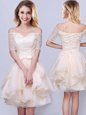 Great Off the Shoulder Champagne Short Sleeves Organza Lace Up Dama Dress for Quinceanera for Prom and Party and Wedding Party