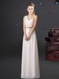 Hot Selling One Shoulder White Lace Up Wedding Party Dress Lace and Appliques and Belt Sleeveless Floor Length
